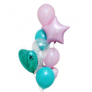 """Фонтан из шаров """"Мята и роза"""" - купить цветы и аксессуары в интернет-магазине Дом цветов"""